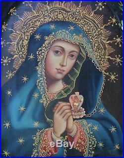 Virgin Mary Sacred Heart Original Painting & Milagros Retablo Mexico Folk Art