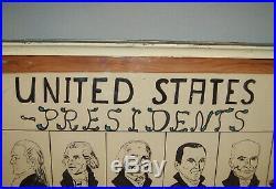 Vtg 1954 Folk Art Portrait Busts United Sates Presidents Washington Eisenhower