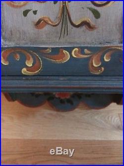 Vtg Antique Norwegian Swedish Folk Art Rosemaling Painted wall Spice Cabinet