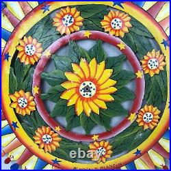 Vtg Carnival Wheel Folk Art Hand Painted Gaming Wheel Metal 22 Signed Plantin