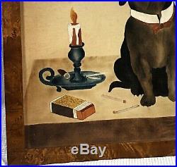Vtg Cigar Smoking BULLDOG Painting THEOREM Folk Art BIRDS-EYE MAPLE FRAME Signed