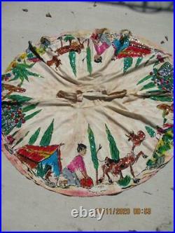 Vtg Mexican TEL-ART Full Circle Skirt Hand Painted With Sequins Folk Art Sz. 14