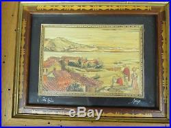 Vtg Pair 1940's Feo Ariza Mexican Straw Art Painting Folk Art Inlaid Mosaic