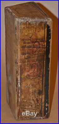 Vtg Wood Folk Art Painted Farm House Dough Utensil Candle Box Basket Dovetail