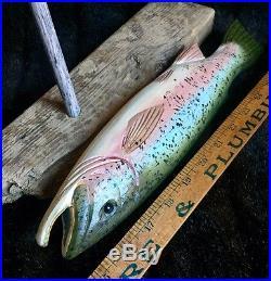 Will Kirkpatrick Carved & Painted Folk Art Wooden Fish 14L Rainbow Trout, WEK