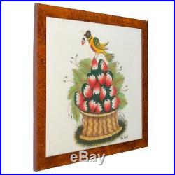 William Bill Rank Folk Art Theorem Painting-Distlefink on Strawberry Basket