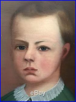 William Matthew Prior Boy & His Dog Antique American Folk Art Portrait Painting