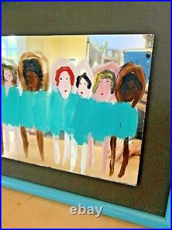 Woodie Long Folk Art Dancing Girls On Mirror Framed Ballerinas Ballet Signed'92