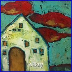 XL Signed Riddle Original Painting 33X44 Fauvist Primitive Folk Art Landscape