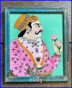 XL Vintage Indian Reverse Glass Painting Male Portrait Prince Turquoise Pink